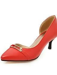 Damen-High Heels-Büro Lässig Party & Festivität-PU-Kitten Heel-Absatz-Komfort-Schwarz Rot Beige
