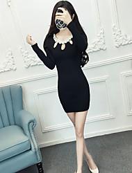 Women's Club Sexy Sheath Dress,Solid Round Neck Mini Long Sleeve Black Polyester Spring Fall High Rise Micro-elastic Medium