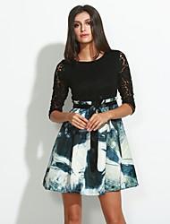 Women's Patchwork / Lace Black Dress , Print / Lace / Party Round Neck ¾ Sleeve