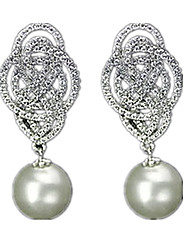 Drop Earrings Pearl Alloy Silver Jewelry Casual 1 pair