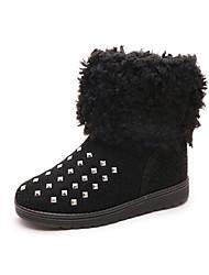 Women's Boots Winter Comfort Fleece Casual Flat Heel Rivet Black Gray Coffee Other
