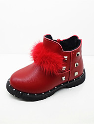 Girl's Boots Spring Fall Winter Comfort PU Casual Low Heel Lace-up Black Pink Red Other