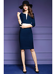 Women's Going out Formal Work Sophisticated Sheath Dress,Color Block Round Neck Knee-length ½ Length Sleeve Polyester Blue Spring Fall