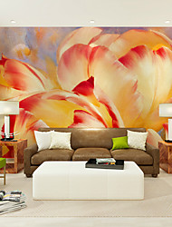 JAMMORY Art Deco Wallpaper For Home Wall Covering Canvas Adhesive Required Mural Yellow Flowers XL XXL XXXL