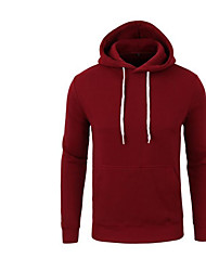 Men's Petite Casual/Daily Active Hoodie Solid Fur Trim Round Neck Removable Hood Micro-elastic Cotton Long Sleeve Spring