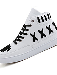 Men's Sneakers Spring Fall Comfort PU Outdoor Casual Flat Heel Lace-up Black Ivory White