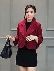 Damen Solide Street Schick Lässig/Alltäglich / Übergröße Blazer,Hemdkragen Frühling / Herbst Langarm Rot / Beige / Schwarz Polyester
