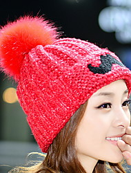 The New Fashion Wild Simple Hair Ball Beard Single Hat Winter Hat Wool Knit Hat