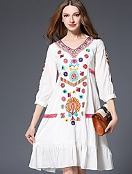 Women's Casual/Daily Boho A Line Dress,Embroidered V Neck Knee-length ½ Length Sleeve Cotton White Spring Mid Rise Inelastic