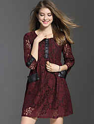 Women's Plus Size Casual Party Sexy Street chic Fashion Slim Lace Dress Patchwork Cut Out Above Knee 3/4 Sleeve Red /Black Spring /Summer