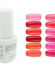 Sequins UV Color Gel Nail Polish No.1-12 (5ml, Assorted Colors)