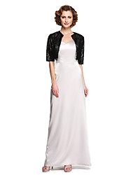 2017 Lanting Bride® Sheath / Column Mother of the Bride Dress - Two Pieces Floor-length Sleeveless Stretch Satin with Pleats