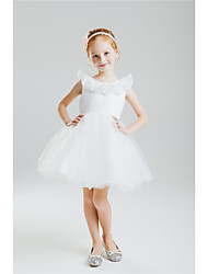 Princess Knee-length Flower Girl Dress - Cotton Spandex Lace Sequined Jewel with Beading Bow(s) Lace Sequins