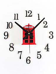 DIY Retro Fashion Creative Phone Booth Mute Wall Clock