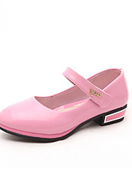 Girl's Flats Spring Fall Winter Comfort PU Casual Low Heel Magic Tape Black Blue Pink Red Other