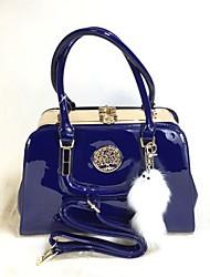 Mulher Bolsas Todas as Estações Couro Ecológico Tote Conjuntos de saco com para Casual Preto Azul Real
