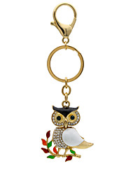 Creative personality branch owl diamond key buckle