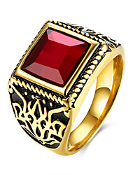Ring Stainless Steel Titanium Steel Glass Fashion Black Red Jewelry Daily Casual 1pc