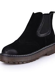 Mujer-Tacón Plano-Confort-Botas-Vestido Informal-PU-Negro Chocolate