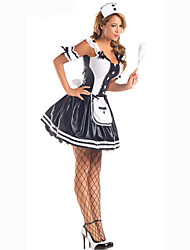 Cosplay Costumes Party Costume Maid Costumes Career Costumes Movie Cosplay Black Solid Dress Headwear Halloween Carnival Female Polyester