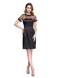 2017 Lanting Bride® Sheath / Column Mother of the Bride Dress - Little Black Dress See Through Knee-length Short Sleeve Tulle Stretch Satin