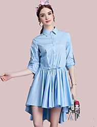 UNE FLEUR Women's Casual/Daily Simple Shirt DressSolid Peter Pan Collar Above Knee Long Sleeve Blue Cotton Spring Fall High Rise Micro-elastic