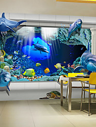 JAMMORY Large Murals Seamless Oil Painting Canvas Living Room Sofa TV Bedroom Restaurant Background Wallpaper Children Tongju 3D Dolphins XL XXL XXXL