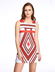 Women's Simple / Street chic Sell Well Vintage Heart Shape Print Sheath Dress,Round Neck Mini