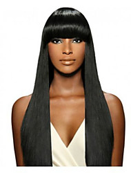Indian Human Virgin  Hair Natural Black Color Lace Front Remy Straight Wig with Bangs