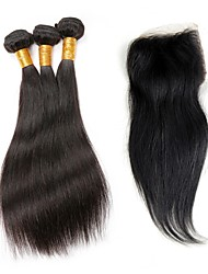 Indian Virgin Hair With Closure Indian Straight Virgin Hair With Lace Closure 4 Bundles With Closure Human Hair With Closure