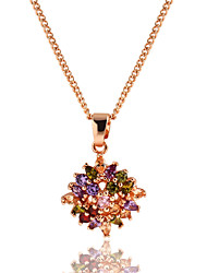 Necklace AAA Cubic Zirconia Pendant Necklaces Jewelry Daily Circle Euramerican Alloy Women 1pc Gift Multi Color