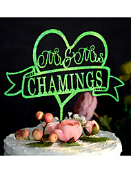 Decorações de Bolo Personalizado Casal Clássico Monograma Resina Acrilíco Cromado Casamento Aniversário Despedida de SolteiraDourado