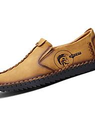 Men's Loafers & Slip-Ons Fall Winter Comfort PU Casual Flat Heel Slip-on Black Yellow Khaki Others