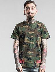 Herren Solide Street Schick Lässig/Alltäglich T-shirt,Rundhalsausschnitt Sommer Herbst Kurzarm Rot Gelb Kunstseide Mittel