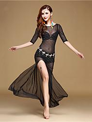 Dança do Ventre Vestidos Mulheres Actuação Poliéster Lantejoulas 2 Peças Meia manga Alto Vestidos Shorts 116;118