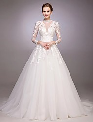 A-line Wedding Dress See-Through Court Train Jewel Tulle with Appliques Beading Button Sequin