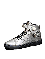Men's Sneakers Winter Comfort Leatherette Casual Flat Heel Lace-up Black Red White Silver