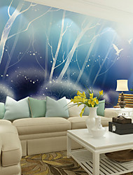 JAMMORY Art DecoWallpaper For Home Wall Covering Canvas Adhesive required Mural Blue Cartoon Landscape XL XXL XXXL