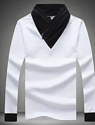 Herren Solide Einfach Chinoiserie Lässig/Alltäglich T-shirt,V-Ausschnitt Herbst Winter Langarm Weiß Schwarz Grau Baumwolle Leinen Mittel