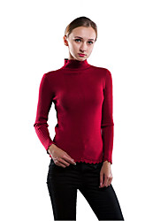 Women's Casual/Daily Formal Work Sexy Sophisticated Short PulloverSolid Round Neck Long Sleeve Sweater