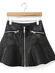 Women's Swing Solid Skirts,Casual/Daily Low Rise Mini Zipper PU Micro-elastic Fall / Winter