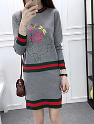 Women's Casual/Daily Simple Set Skirt Suits,Solid Round Neck Long Sleeve Black / Gray Wool