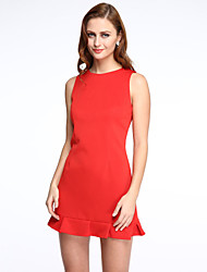 Women's Ruffle Party Sexy Sheath Dress,Solid Round Neck Above Knee Sleeveless Red / Black Polyester Summer