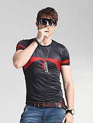 Herren Solide Geometrisch Einfach Lässig/Alltäglich T-shirt,Rundhalsausschnitt Frühling Sommer Kurzarm Schwarz Seide Kunstseide Mittel