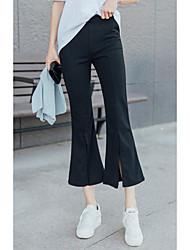 Femme Petites Tailles Boot Cut Chino Pantalon,simple Mignon Sortie Décontracté / Quotidien Couleur Pleine Taille Normalefermeture Éclair