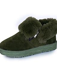 Women's Boots Fall Winter Comfort Suede Outdoor Dress Casual Low Heel Black Green