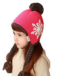 Girl's Knitting Cute Winter Going out/Casual/Daily Keep Warm Snowflake Solid Color Pigtail Headgear Baby Hat Children Cap