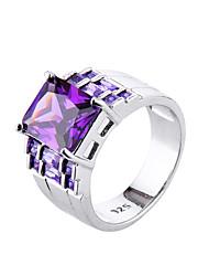 Brand design women Big Amethyst square Zircon jewelry Rings for Female Platinum Plated Romantic Christmas present