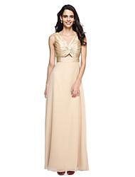 LAN TING BRIDE Floor-length V-neck Bridesmaid Dress - Beautiful Back Sleeveless Taffeta Georgette