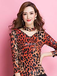 Ballroom Dance Tops Women's Training Viscose Leopard / Pattern/Print 1 Piece 3/4 Length Sleeve Natural Top